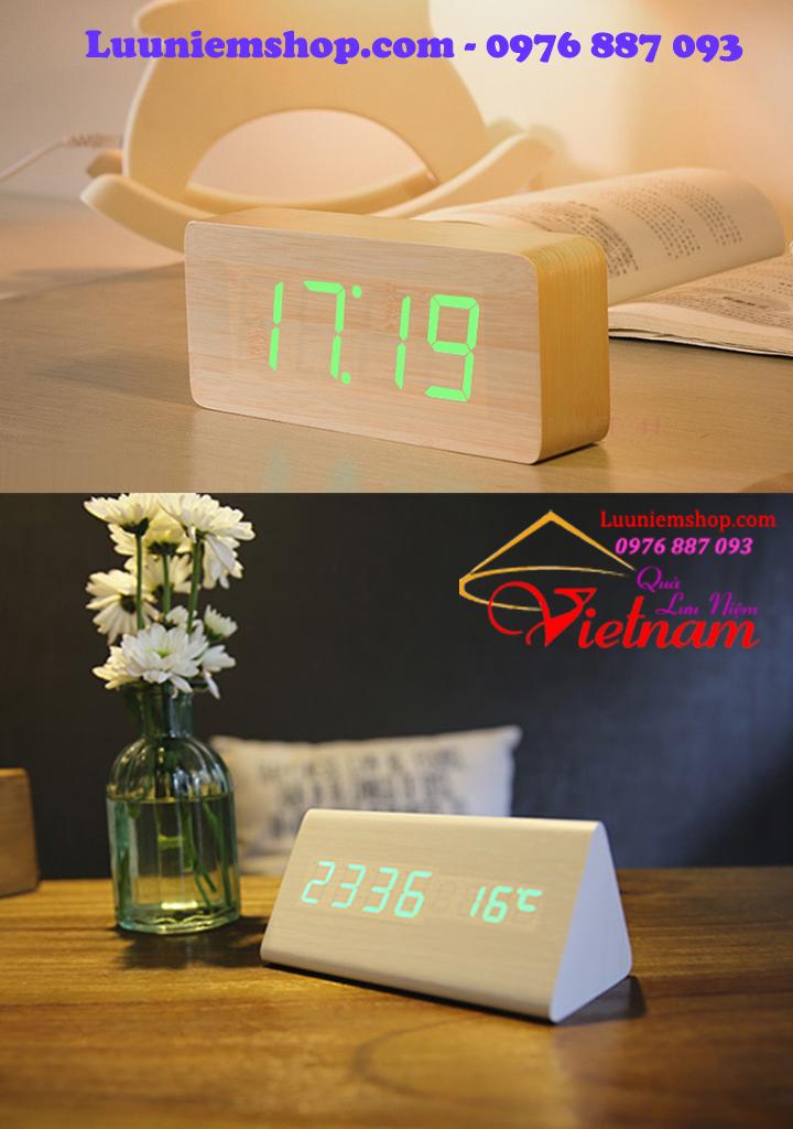 Đồng hồ khối gỗ trang trí để bàn, đồng hồ khối gỗ